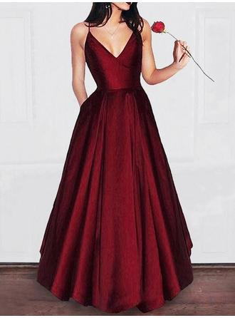 A-Line/Princess V-neck Floor-Length Satin Prom Dresses With Ruffle