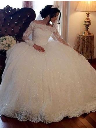 Ball-Gown Off-The-Shoulder Floor-Length Wedding Dresses With Beading