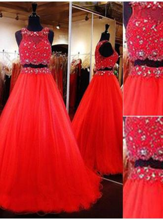 A-Line/Princess Tulle Prom Dresses Beading Scoop Neck Sleeveless Floor-Length Detachable
