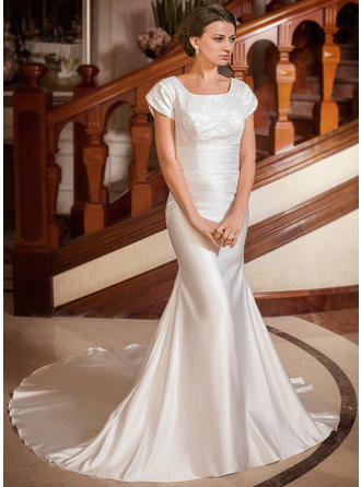 Trumpet/Mermaid Satin Short Sleeves Square Chapel Train Wedding Dresses