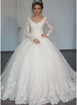Ball-Gown Tulle Long Sleeves V-neck Floor-Length Wedding Dresses