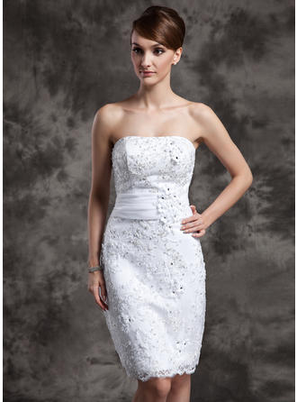 Sexy Strapless Sheath/Column Wedding Dresses Knee-Length Satin Organza Lace Sleeveless