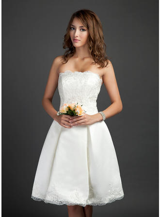 Newest Strapless A-Line/Princess Wedding Dresses Knee-Length Satin Sleeveless