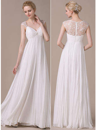 A-Line/Princess Sweetheart Floor-Length Wedding Dresses With Pleated