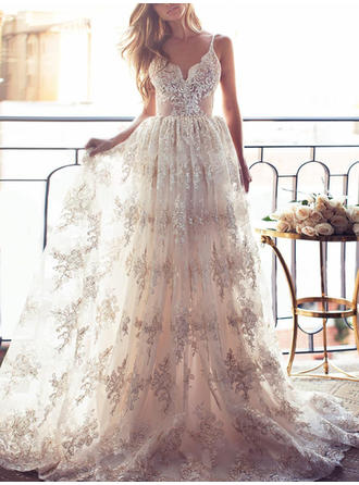 A-Line/Princess Lace Sleeveless V-neck Sweep Train Wedding Dresses