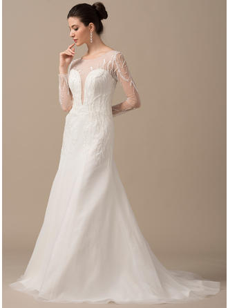 Chic Scoop A-Line/Princess Wedding Dresses Sweep Train Tulle Long Sleeves