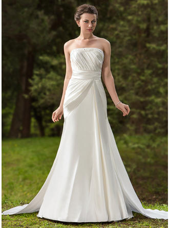 Elegant Strapless Trumpet/Mermaid Wedding Dresses Watteau Train Satin Sleeveless