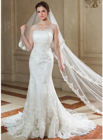 Beautiful Strapless Trumpet/Mermaid Wedding Dresses Court Train Tulle Sleeveless