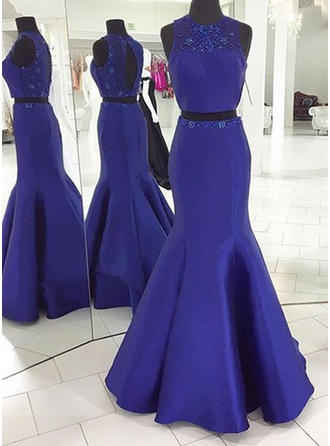 Trumpet/Mermaid Scoop Neck Sweep Train Detachable Prom Dresses With Beading