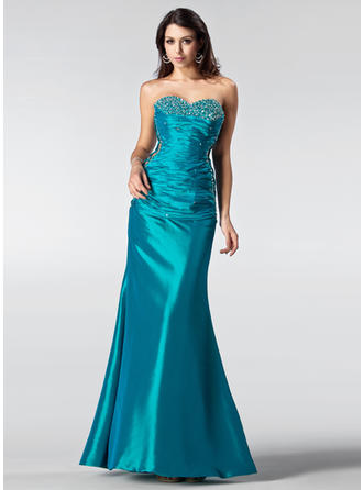 Trumpet/Mermaid Sweetheart Floor-Length Prom Dresses With Ruffle Beading Sequins