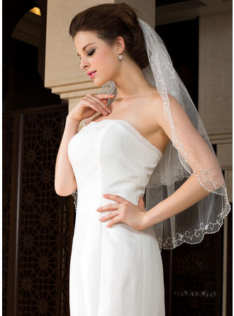 Elbow Bridal Veils Tulle Two-tier Classic/Oval With Beaded Edge Wedding Veils