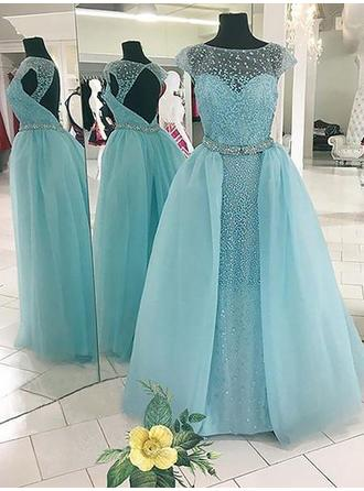 Ball-Gown Tulle Prom Dresses Beading Scoop Neck Sleeveless Floor-Length