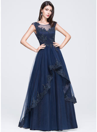 A-Line/Princess Tulle Prom Dresses Beading Appliques Lace Sequins Scoop Neck Sleeveless Floor-Length