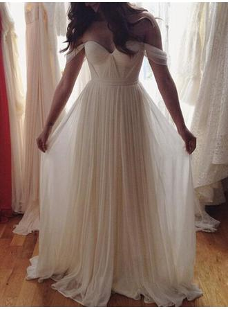 A-Line/Princess Off-The-Shoulder Floor-Length Wedding Dresses With Ruffle