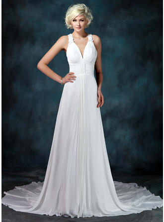 A-Line/Princess Sweetheart Chapel Train Wedding Dresses With Ruffle Beading Appliques Lace