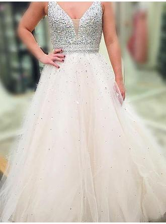 A-Line/Princess Tulle Prom Dresses Beading Sequins V-neck Sleeveless Floor-Length