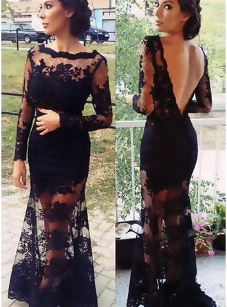 Trumpet/Mermaid Scoop Neck Sweep Train Lace Evening Dresses With Lace