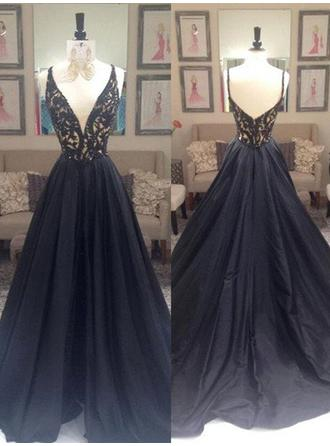 A-Line/Princess Taffeta Prom Dresses Beading V-neck Sleeveless Sweep Train