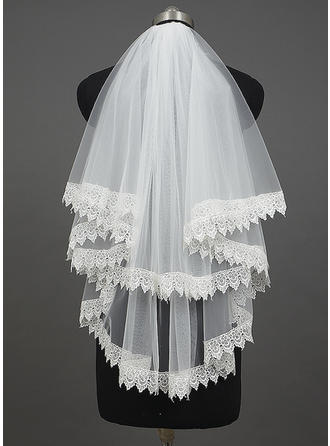 Elbow Bridal Veils Tulle Two-tier Classic With Lace Applique Edge Wedding Veils