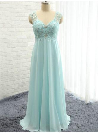 A-Line/Princess Sweetheart Floor-Length Bridesmaid Dresses With Ruffle Beading