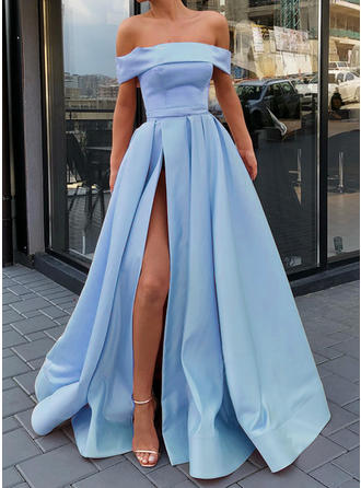 A-Line/Princess Off-the-Shoulder Sweep Train Prom Dresses With Ruffle Split Front