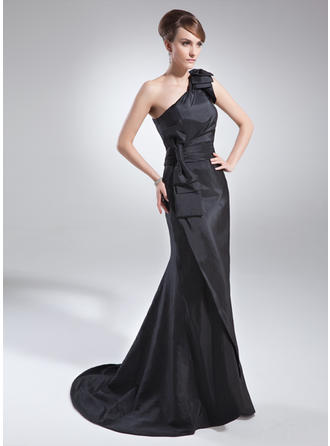 Trumpet/Mermaid Taffeta Sleeveless One-Shoulder Sweep Train Zipper Up Covered Button Mother of the Bride Dresses
