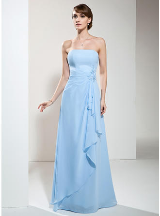 A-Line/Princess Chiffon Bridesmaid Dresses Beading Appliques Lace Cascading Ruffles Strapless Sleeveless Floor-Length