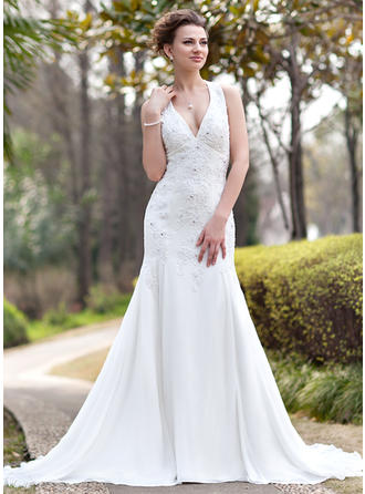 Chic Halter Trumpet/Mermaid Wedding Dresses Chapel Train Chiffon Sleeveless