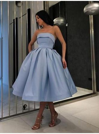 Ball-Gown Strapless Tea-Length Homecoming Dresses With Ruffle