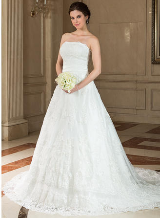 Chic Strapless A-Line/Princess Wedding Dresses Chapel Train Satin Lace Sleeveless