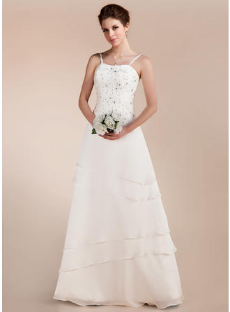 A-Line/Princess Sweetheart Floor-Length Wedding Dresses With Lace Beading