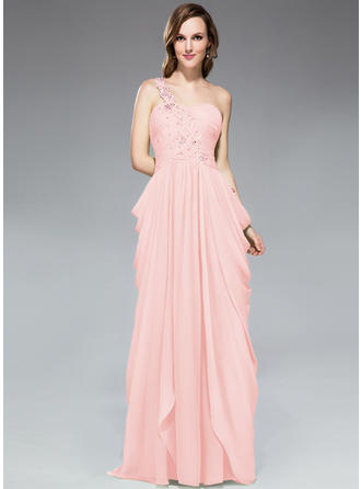 Sheath/Column Chiffon Prom Dresses Ruffle Beading Appliques Lace Sequins One-Shoulder Sleeveless Sweep Train