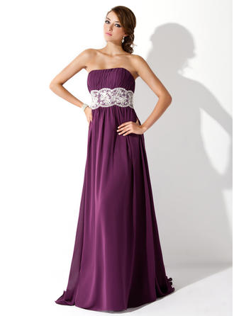 Empire Sweep Train Prom Dresses Strapless Chiffon Sleeveless