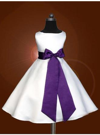 A-Line/Princess Scoop Neck Tea-length With Sash/Bow(s) Satin Flower Girl Dresses