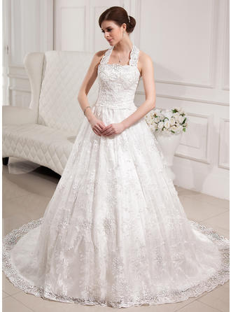 Ball-Gown Halter Chapel Train Wedding Dresses With Beading Sequins