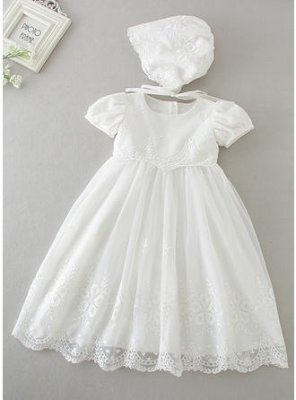 A-Line/Princess Scoop Neck Tea-length Lace Christening Gowns