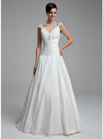 A-Line/Princess Sweetheart Floor-Length Wedding Dresses With Ruffle Beading Appliques Lace