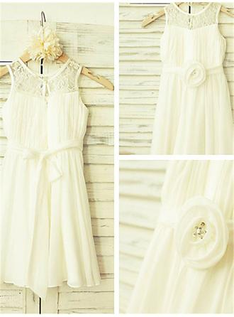 A-Line/Princess Scoop Neck Ankle-length With Flower(s) Chiffon Flower Girl Dresses