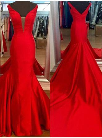 Trumpet/Mermaid Satin Prom Dresses V-neck Sleeveless Sweep Train