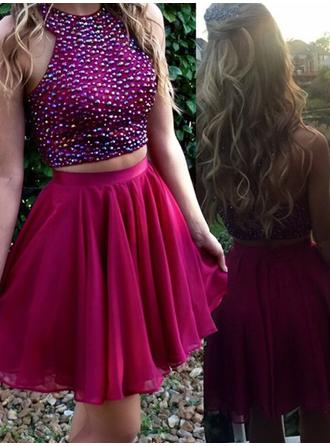 A-Line/Princess Scoop Neck Detachable Chiffon Homecoming Dresses With Beading