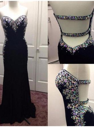 Sheath/Column Sweetheart Sweep Train Prom Dresses With Sequins