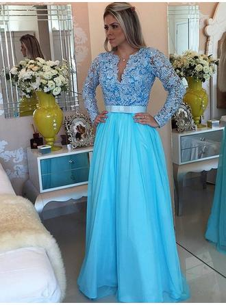 A-Line/Princess V-neck Floor-Length Prom Dresses With Ruffle Sash