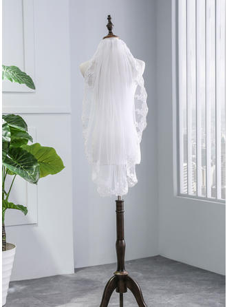 Elbow Bridal Veils Tulle One-tier With Lace Applique Edge With Lace Wedding Veils