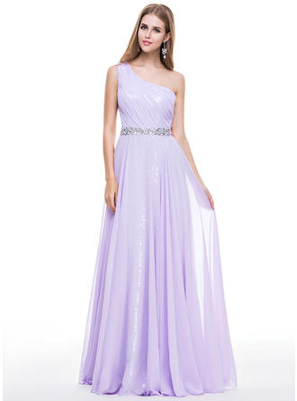 A-Line/Princess Chiffon Sequined Prom Dresses Ruffle Beading One-Shoulder Sleeveless Floor-Length