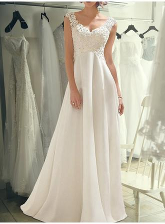Empire V-neck Sweep Train Wedding Dresses With Lace
