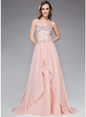 A-Line/Princess Sweetheart Sweep Train Prom Dresses With Beading Sequins Cascading Ruffles