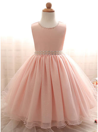 A-Line/Princess Scoop Neck Floor-length Tulle Christening Gowns With Beading