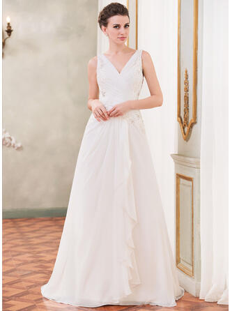 A-Line/Princess V-neck Court Train Chiffon Wedding Dress With Beading Appliques Lace Sequins Cascading Ruffles
