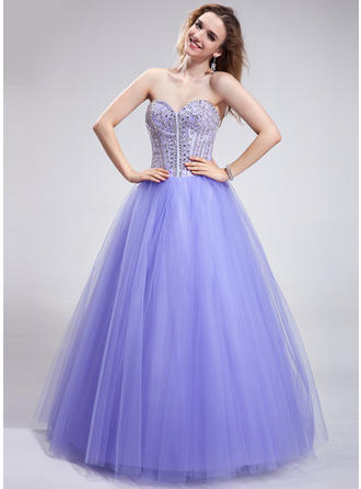 Ball-Gown Sweetheart Floor-Length Prom Dresses With Beading Sequins