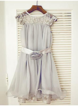A-Line/Princess Scoop Neck Tea-length With Ruffles/Sash/Flower(s) Chiffon/Tulle/Lace Flower Girl Dresses